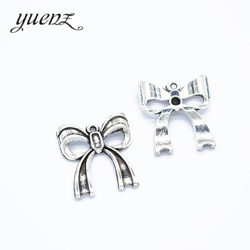 YuenZ 10 Uds abalorios de color plateado antiguo pajarita de Metal colgante collar joyería hecha a mano 20*18mm N148