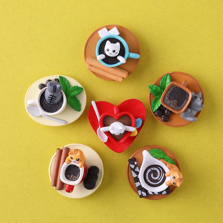 Dibujos Animados creativos gato taza de café serie decoración imanes de nevera 6 unids/set PVC potentes imanes de nevera