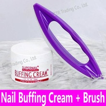 1set Nail Art Buffing Cream 50g + Wax Polishing Brush Nail Varnishing Toolkit Wax Coat Kit Tips Luster Buffer Decoration Tools