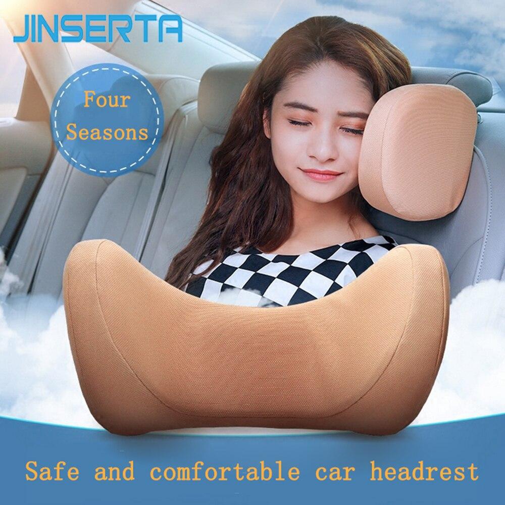 JINSERTA U Shaped Car Seat Back Neck Pillow Memory Foam Headrest Travel Pillow Health Care Head Supp