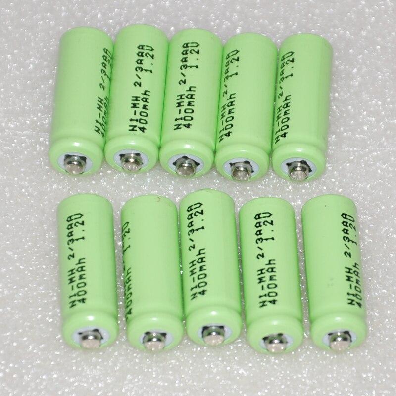 5-10 UNITEK 1,2 V 2/3AAA batería recargable 400mah 2/3 AAA ni-mh punto superior para juguetes de luz solar teléfono inalámbrico
