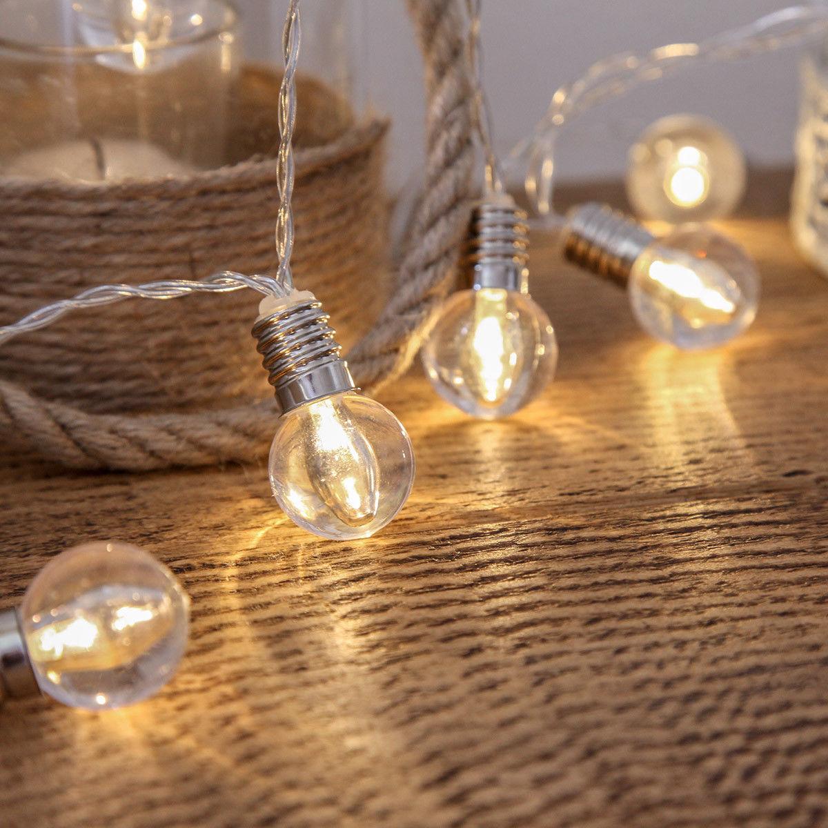 Mini bombilla de linterna transparente de 40 led, luces de cadena de funcionamiento con batería, 6 M, luces led de decoración para Navidad, guirnalda de Año Nuevo, gerlyanda