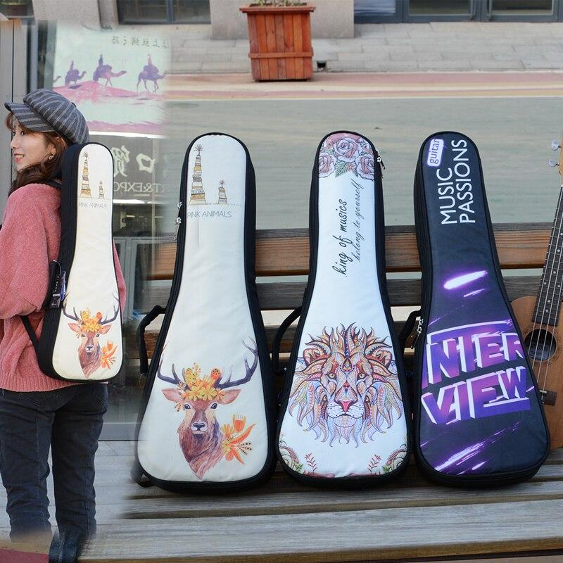 Укулеле сумка чехол Электрический 21 23 26 дюймов концертный рюкзак Наплечная Сумка Gig этнический мультфильм Лев Мода много выбор