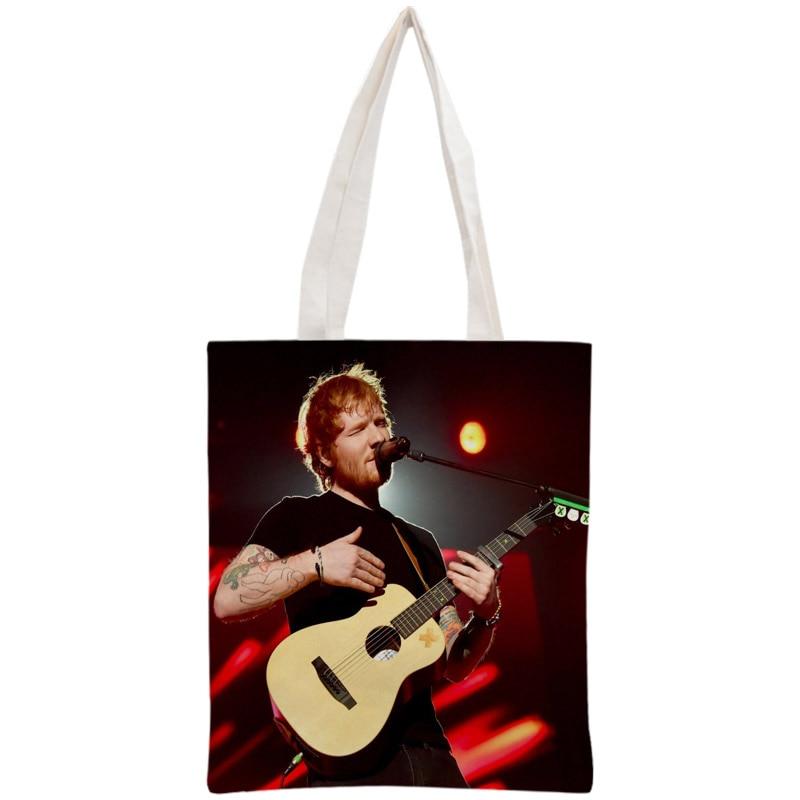 Bolsas de compras de lona de algodón Ed Sheeran personalizadas 30x35cm bolsa de mano reutilizable bolsa de tela de hombro para mujeres plegable