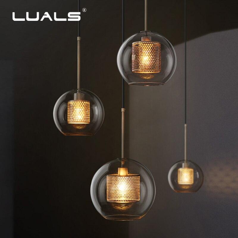 Lámpara colgante para loft LUALS, lámparas colgantes clásicas, lámpara colgante Simple de cristal, iluminación Art Deco, lámpara colgante nórdica Edison