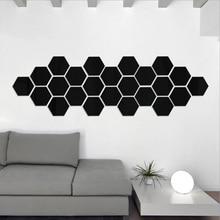 Miroir amovible 3D hexagone bricolage   Autocollant mural pour décoration de maison, décoration de salle créative de qualité, en acrylique