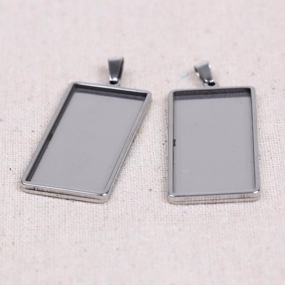 Onwear 5 pcs/lot 19x38mm dia rectangle cabochon base camée blanc paramètres bricolage pendentif en métal plateau pour la fabrication de bijoux