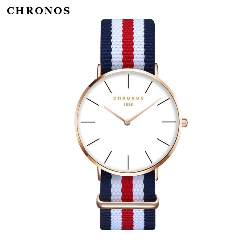 CHRONOS par mira una simple esfera de los hombres de la moda de las mujeres de Nylon reloj para muñeca fina Unisex reloj de cuarzo esfera blanca reloj femenino
