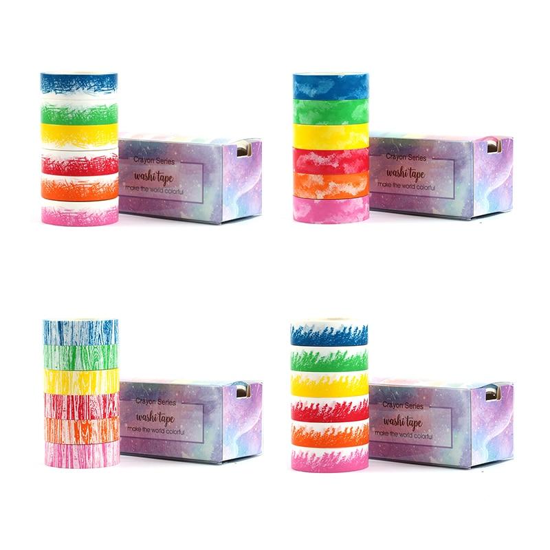 Crayon Series Washi Tape Set Colorful Scrapbooking Tape Set DIY Masking Tape Set 5 Meters Long