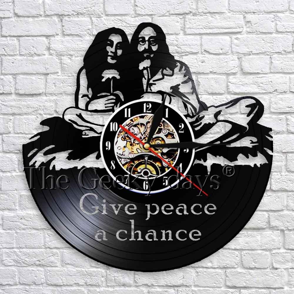 1 pieza de reloj de pared de grabación de vinilo de la paz John Lennon dar paz una oportunidad cita Arte de la pared Decoración reloj diseño moderno Decoración Para sala de estar