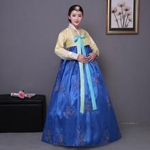 Hanbok-robe traditionnelle coréenne pour femmes   Bleu, broderie, rose, en coton, costume national coréen de performance sur scène, vêtements daisa