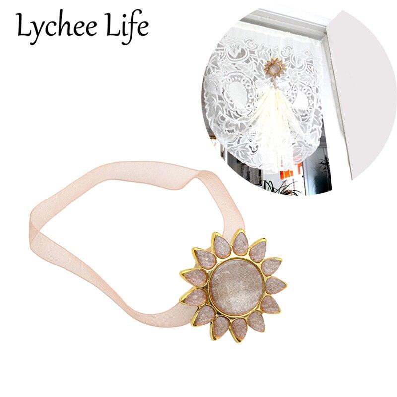 1 Uds cinta con flores de Sol de moda cortina de gasa broche magnético para cortina Abrazadera para cortina magnética Clip de cortina