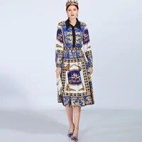 two piece set high quality 2019 new designer runway fashoin dress women crystal button printed elegant casual midi dress summer