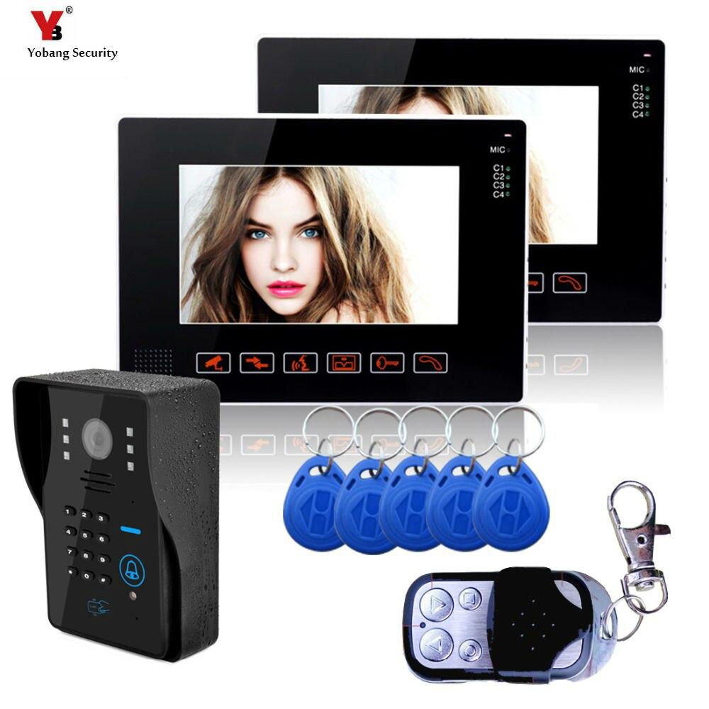 Yobang 9 Polegada Vídeo Porteiro Porta De Segurança 1000TVL Câmera de Segurança Ao Ar Livre 5 pcs RFID Acesso Vídeo Campainha Do Telefone intercomunicador