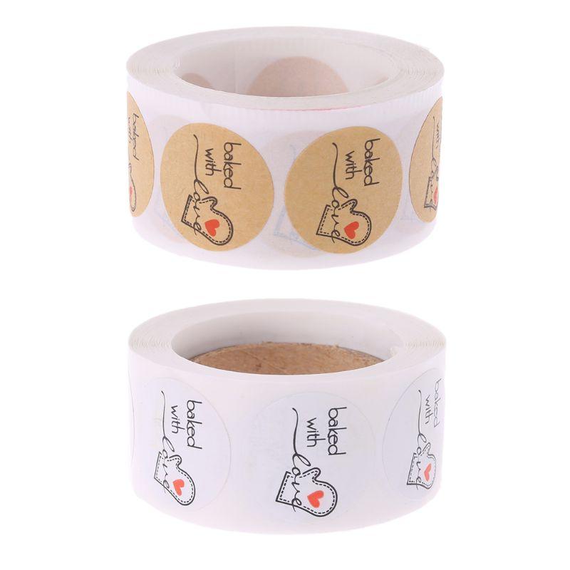 500 Uds. Etiqueta engomada de papel kraft redonda cocida con amor etiqueta adhesiva para hornear para Navidad Festival caja de pastel regalo