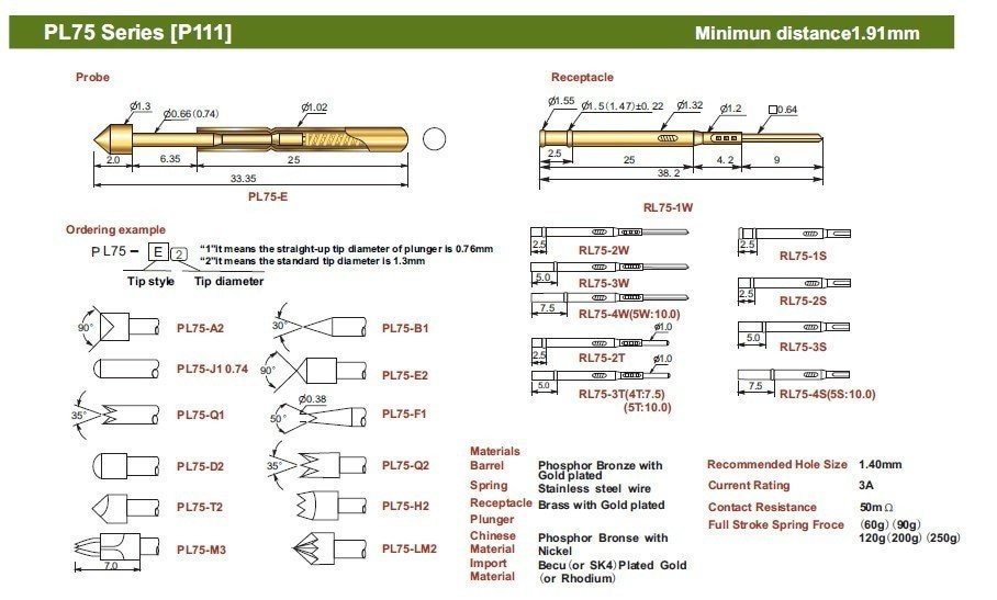 O envio gratuito de 100 pçs/lote PL75-E2 33.35mm primavera teste sonda para pcb, pogo pino