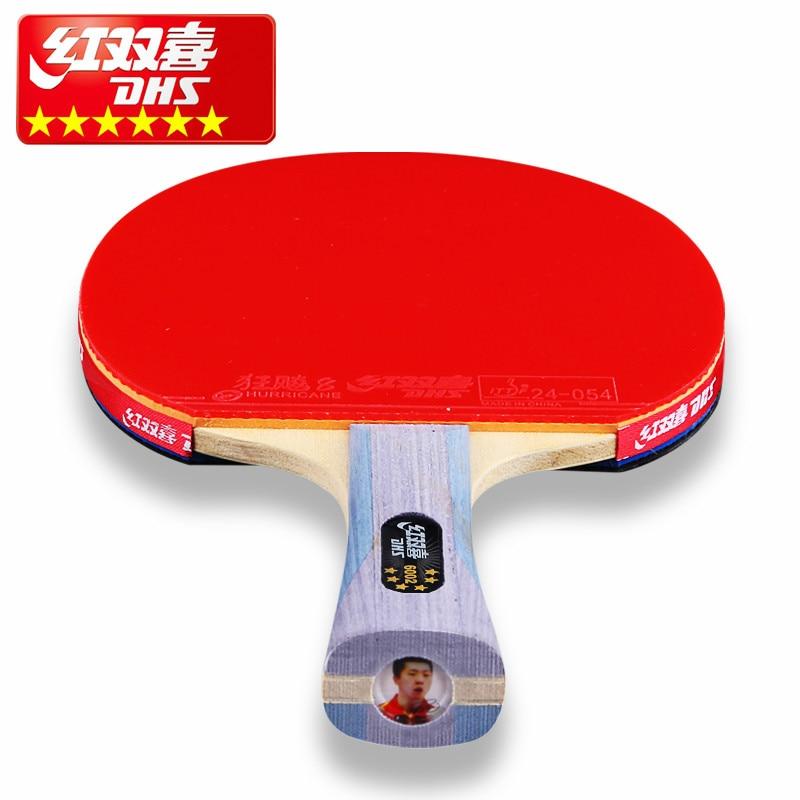 DHS doble felicidad MA LONG DING NING 6 estrellas profesional raqueta de tenis de mesa doble raqueta de Ping Pong inversa bucle rápido