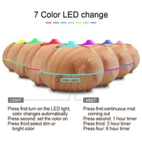 Humidificateur dair ultrasonique avec Grain de bois  diffuseur dhuile essentielle et darome  lumieres LED aux 7 couleurs changeantes pour bureau  chambre a coucher  maison  400ml