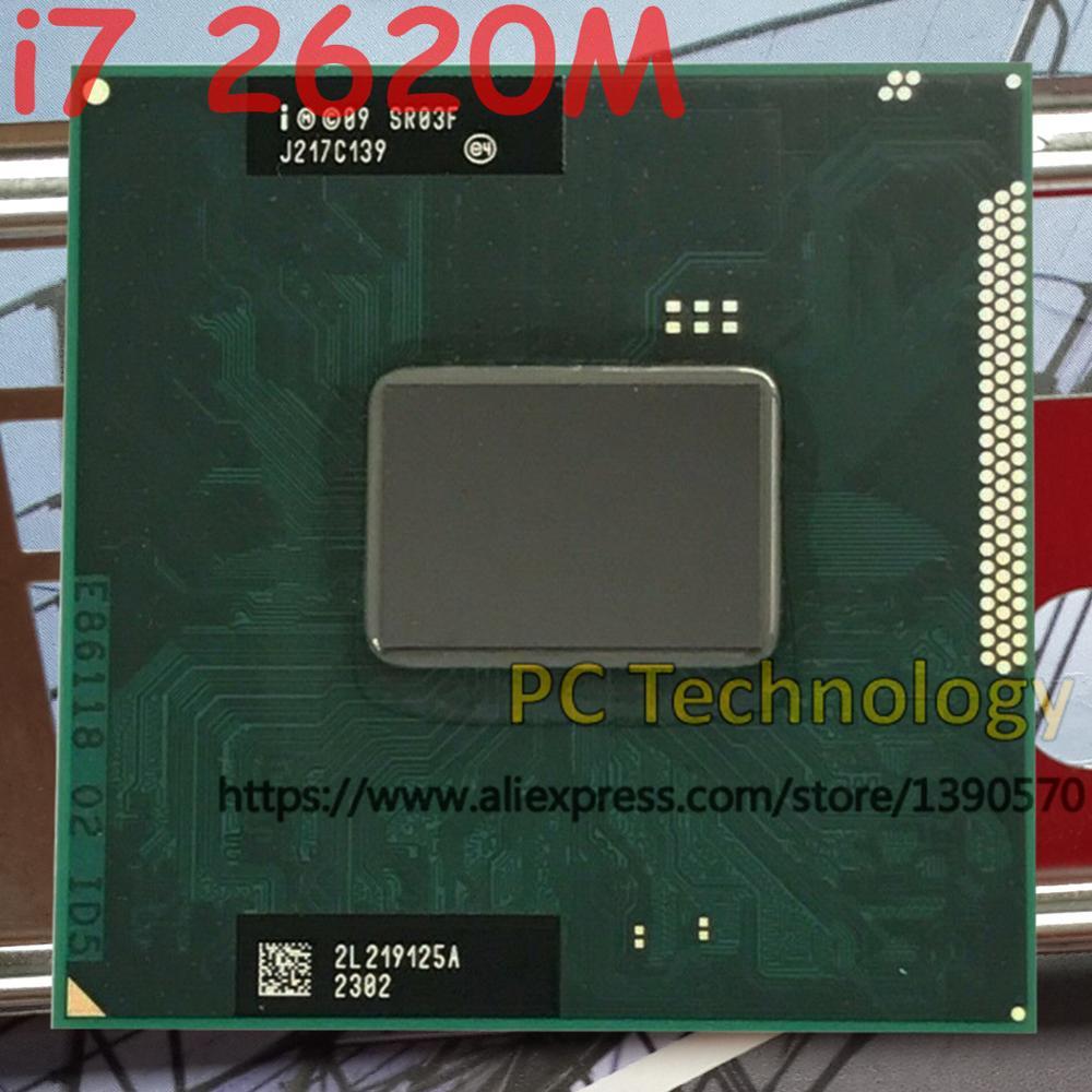 Original Intel core CPU I7-2620M 2,70GHz 4MB Dual Core SR03F I7 2620M FCPGA988 laptop Notebook Processor free shipping