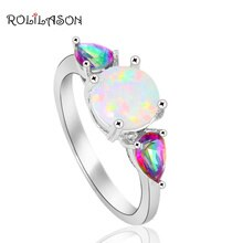 Regenboog Mystic Zirkoon Fashion Brand Wit Fire Opal Verzilverd Ringen Voor Vrouwen Mode-sieraden OR753