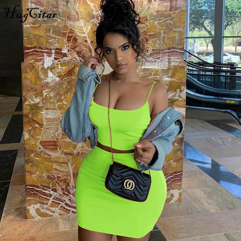 Hugcitar spaghetti straps sexy camis falda 2 conjunto de dos piezas 2019 verano Mujer moda neón verde naranja sólido fiesta, ropa de calle