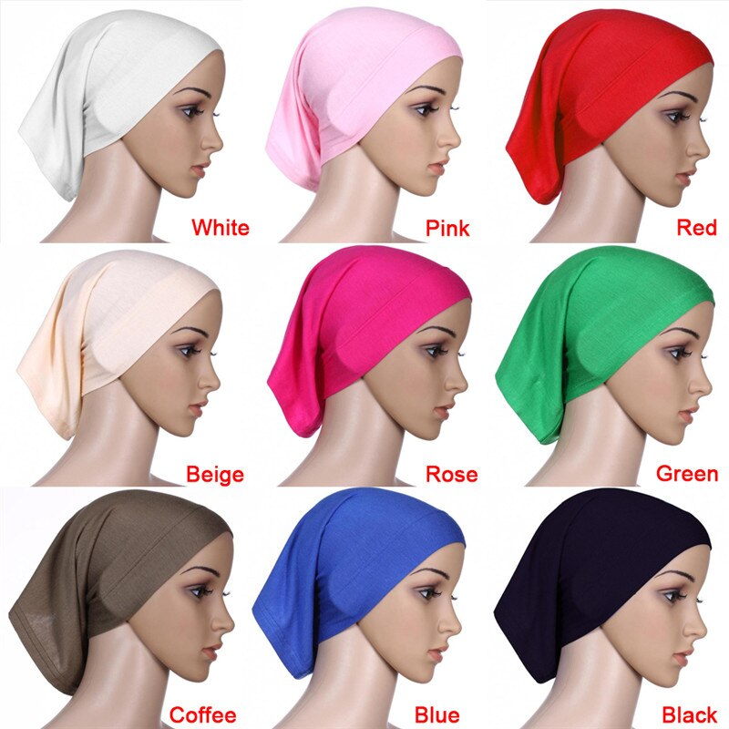 9 Colors Elastic Adjustable Muslim Islamic Arabian hijab tube veil robe abaya inner caps hats Modal Stretch  30x24cm
