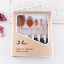 Anmor 5 Pcs Makeup Brush Set Make Up Borstels Professionele Foundation Synthetisch Haar Contour Poeder Bronzer Cosmetische Cleaner Kit