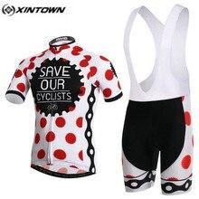 XINTOWN Pro vélo maillot cuissard ensembles points rouges mâle Ropa Ciclismo cyclisme haut bas hommes équitation vtt vélo vêtements costumes