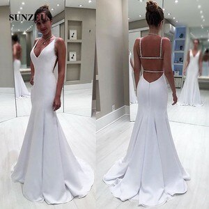 Beaded Straps V-neck Mermaid Bridal Dresses Sexy Back Summer Long Chiffon Wedding Gowns Women Marriage Dress