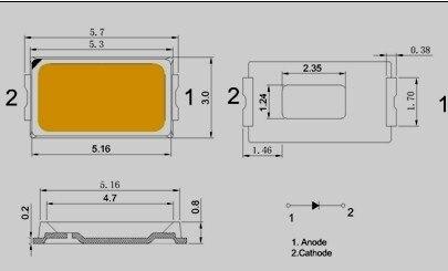 5000 Uds X SMD Led de diodo smd 5730 blanco frío 0,5 W 150mA 55-60LM 9000 K-12000 K envío gratis SMT carrete