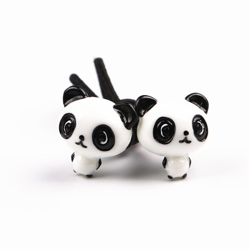 Korea Handmade Cartoon Resin Panda Kids Children Girl Elastic Hair Bands Head wear Accessories-GMKEHRB010C5