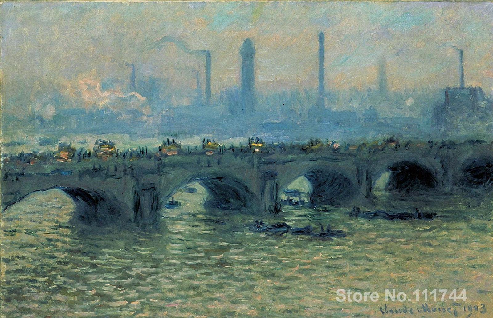Copia de pinturas al óleo artista famoso puente de Waterloo gris clima Claude Monet arte hecho a mano para la decoración de la pared del hogar
