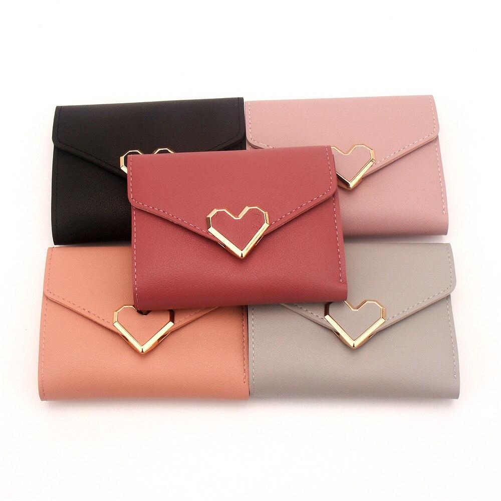 Женские кошельки, кошелек в форме сердца и кошельки, маленький дамский короткий кошелек, портмоне для женщин, женский кошелек