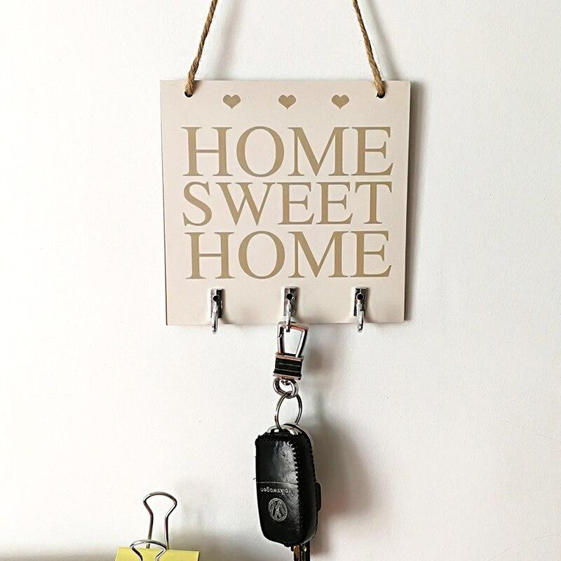 "Wall Mounted Rack Home Holder Storage Hanger Home Decor ""Home Sweet Home"" Shelves Hat Key Holders Storage Shelf hanging hooks"