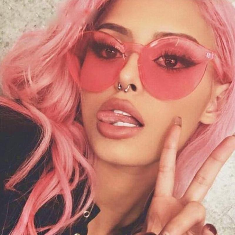 2018  Pink Gothic  Women Rimless Sunglasses Transparent Shades Sun Glasses Female Cool Candy Color UV400 Eyewear Oculos De Sol