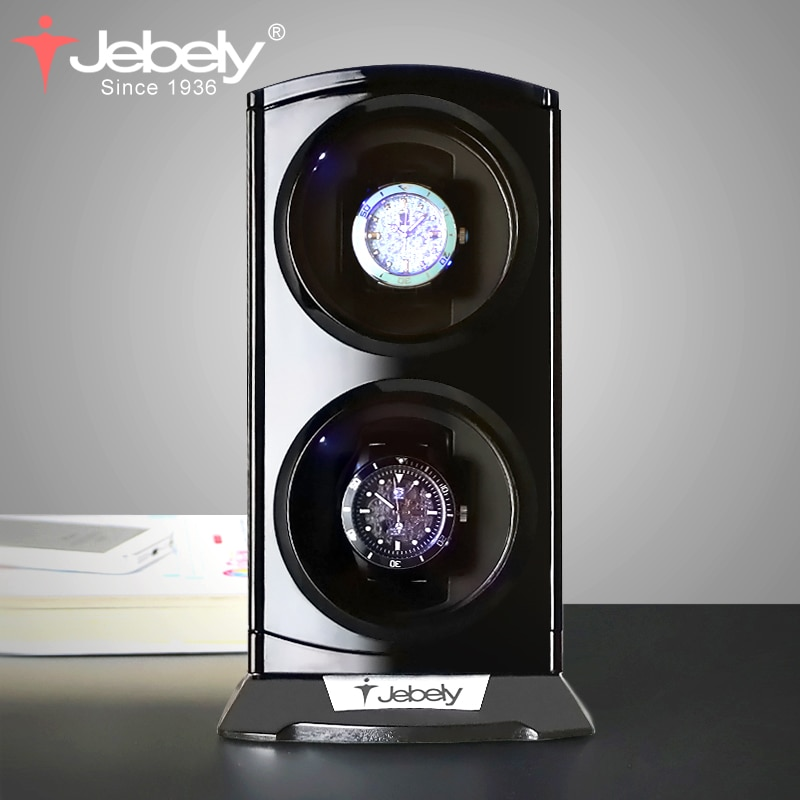Jebely Black Double Watch Winder for Automatic Watches Watches Box Jewelry Watch Display Collector S