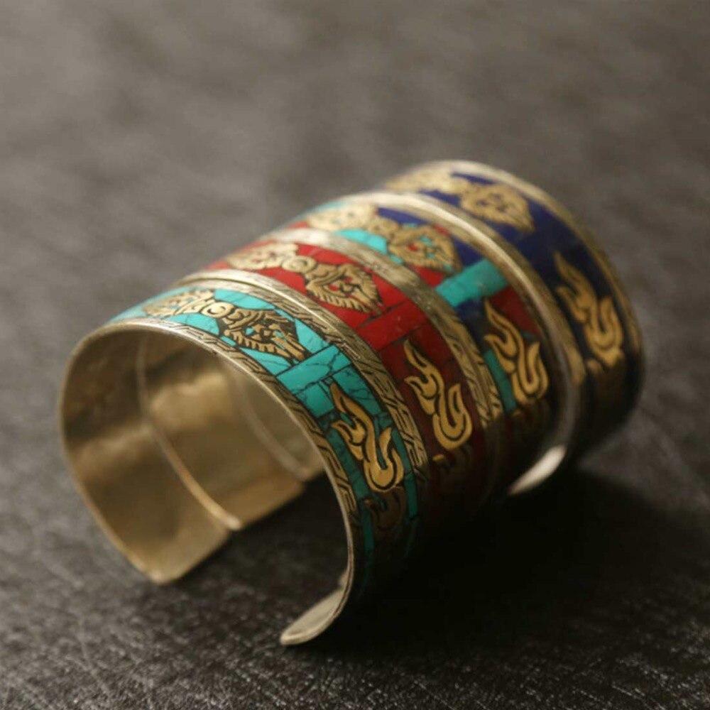 Venta caliente nuevo-Envío gratis el Tíbet Nepal estilo Folk, joyería hecha a mano de plata tibetana turquesas pulsera Vajra de apertura