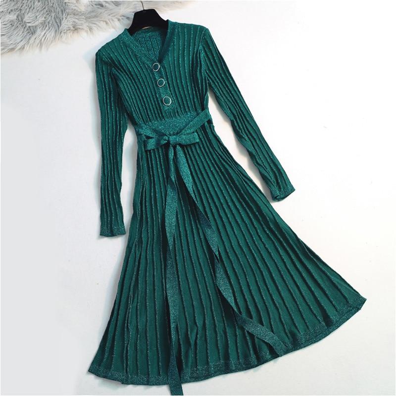 Qualidade do vintage longo vestido de camisola feminina com nervuras de malha lurex glitter pulôver camisola cocktail chá swing vestido feminino jumper