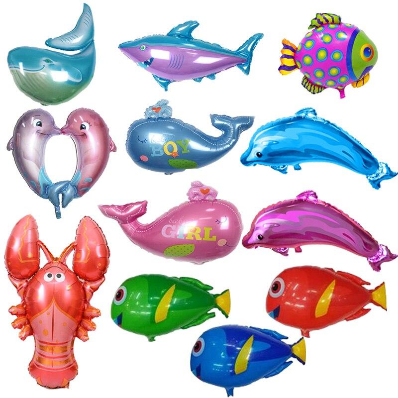 Globos de papel de aluminio con forma de pez, juguetes inflables para mar, mundo, fiesta, decoraciones para fiesta de cumpleaños, decoración de boda para niños, suministros para eventos y fiestas