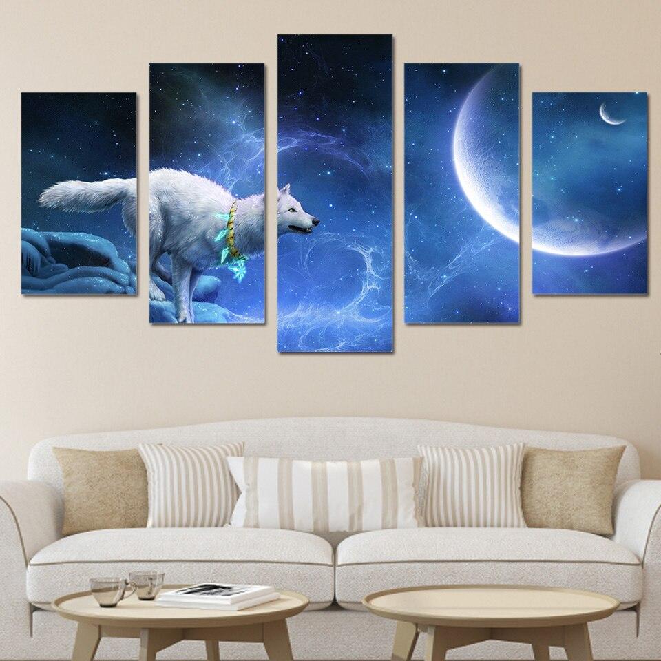 HD impreso magic white wolf grupo pintura lienzo impresión habitación decoración impresión cartel imagen lienzo envío gratis/ny-321