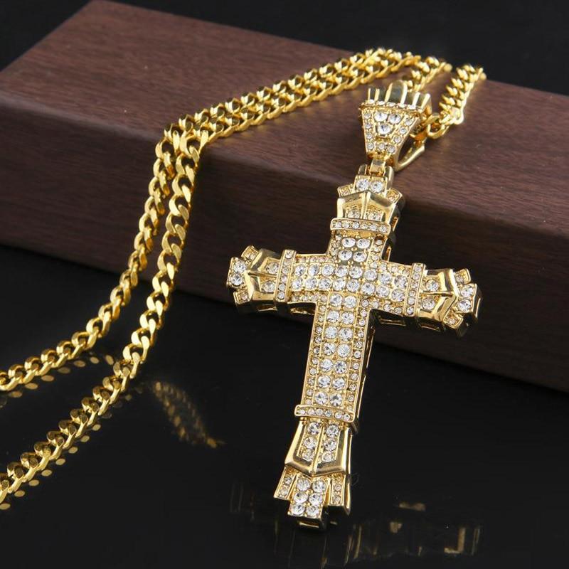 Ожерелье с подвеской в стиле хип-хоп, ожерелье с подвеской в виде крестиков, модное мужское ожерелье в стиле хип-хоп, золотая и серебряная цепь, для диджеев, реперские украшения, 2019