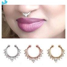 1 pièce inde Style 1.2*8mm alliage de titane AAA Zircon gemme faux nez anneau Septum Piercing pince de suspension sur hommes femmes bijoux de corps