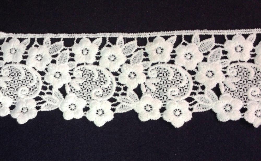7cm wide milk fibre flower embroidery lace trim,Eco-Friendly soft touch flower lace trimmings XERYzx150422-22