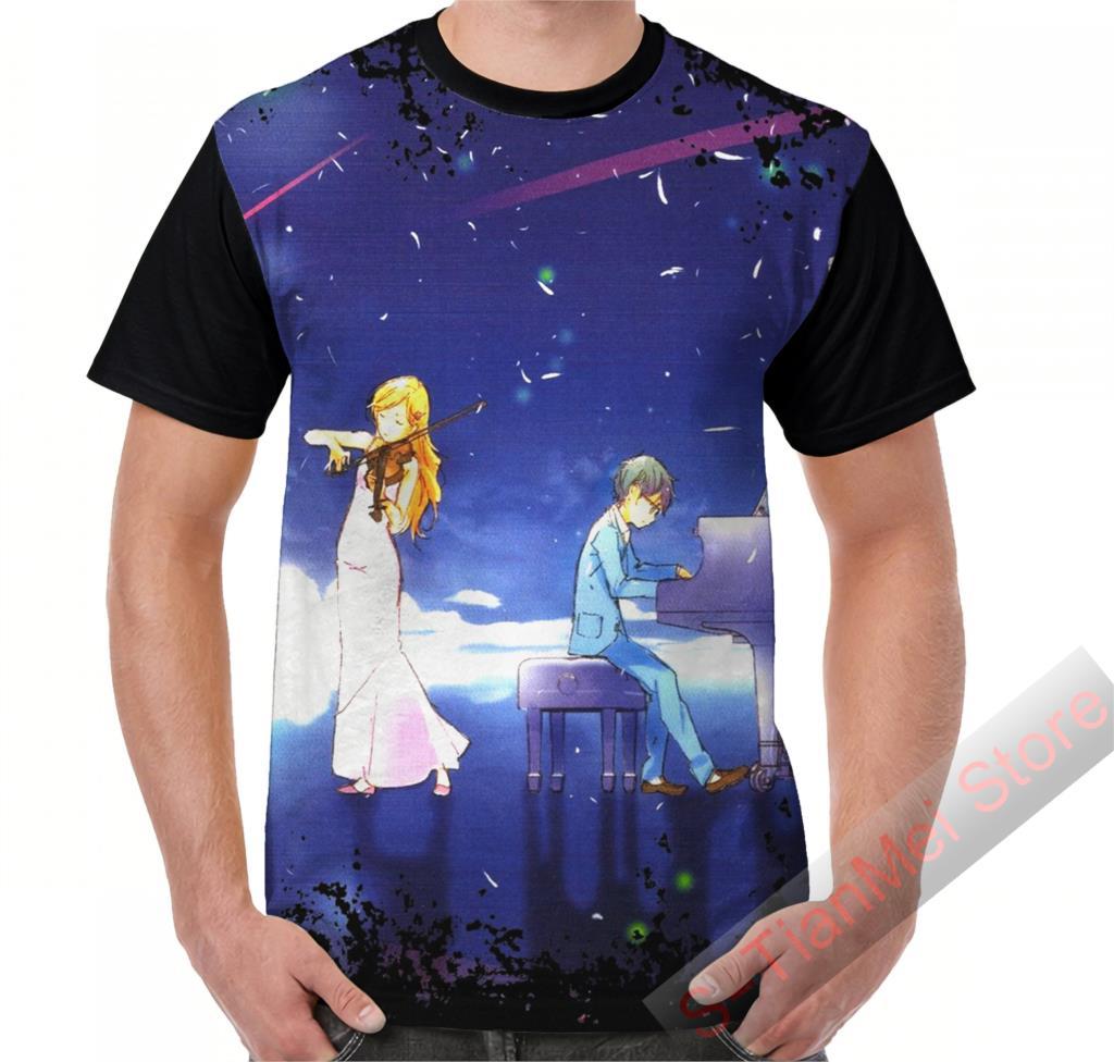 Zomer Grafische T-shirt Mannen Tops Tees Shigatsu Wa Kimi Geen Uso Gedrukt Vrouwen Grappige T-shirt Korte Mouw Casual T-shirts