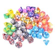 7 шт./компл. многогранные разноцветные кости для настольных игр D1, D2, D3, D4, D5, D6, D7, D8