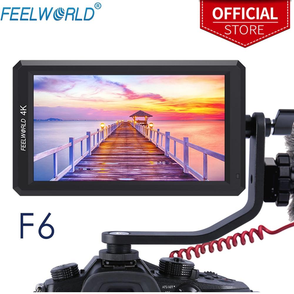 FEELWORLD-شاشة F6 الميدانية لكاميرا DSLR ، 5.7 بوصة ، 1920 × 1080 ، 4K ، HDMI ، مساعد التركيز ، نحيف للغاية ، مع إخراج طاقة ذراع الإمالة