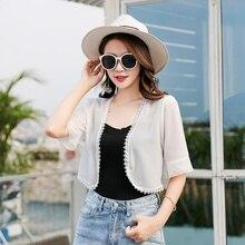 Fashion Chiffon Kimono Cardigan Casual 3/4 Sleeve Loose Black White Women Blouses Shirts Plus Size Summer Sunscreen Top