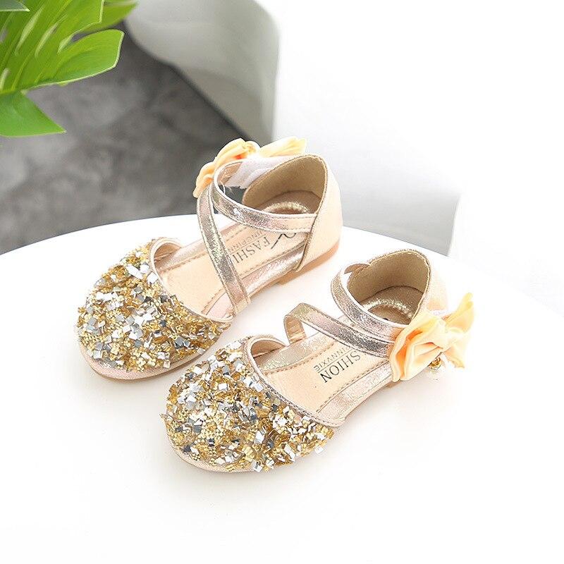Verano niñas scandals zapatos bowtie transpirable de moda en relieve cuero lentejuelas princesa formal fiesta boda zapatos