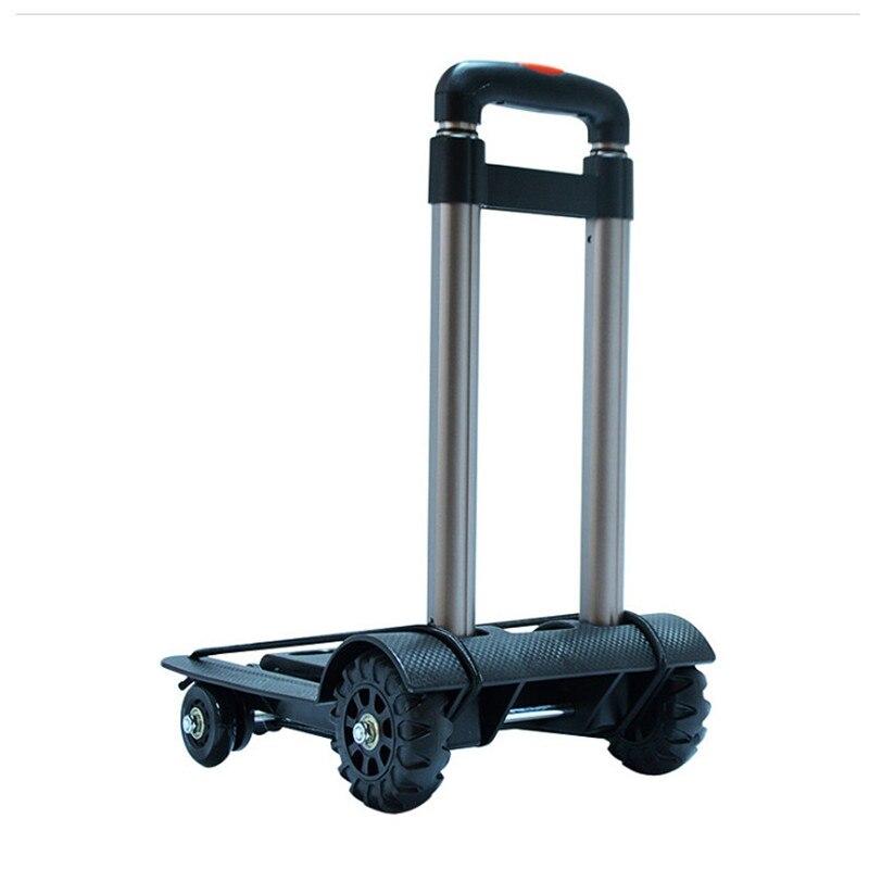 Carrito de la compra plegable, carrito portátil, carrito de la compra de cuatro ruedas, carro pequeño de arrastre, carro de equipaje