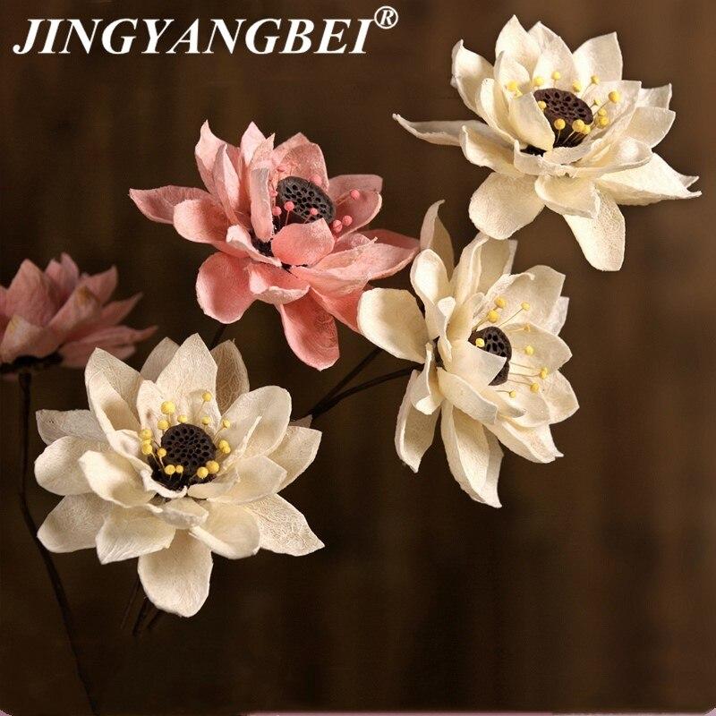 Lotus natural grande, hibisco, flor seca multicolor, decoração de casamento, festa em casa, flores secas artificiais, 85cm